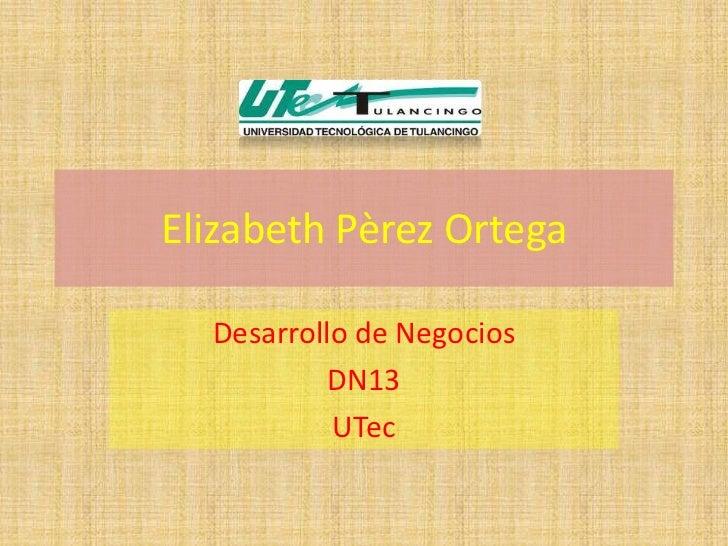 Elizabeth Pèrez Ortega  Desarrollo de Negocios           DN13           UTec