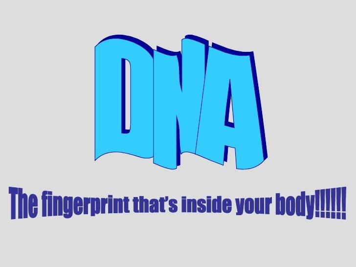 DNA The fingerprint that's inside your body!!!!!!