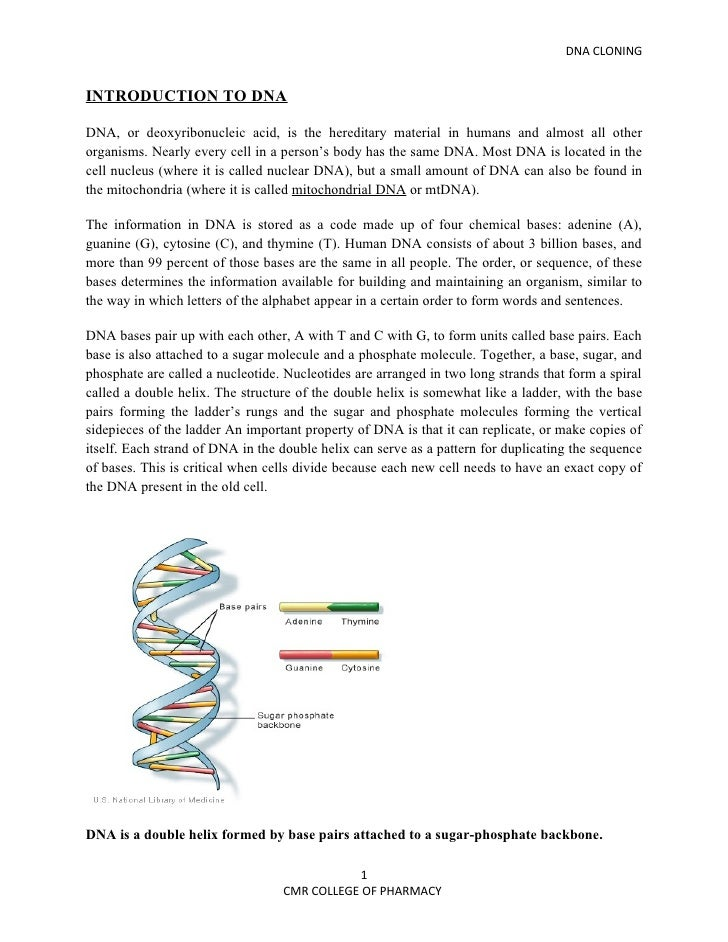 DNA CLONINGINTRODUCTION TO DNADNA, or deoxyribonucleic acid, is the hereditary material in humans and almost all otherorga...