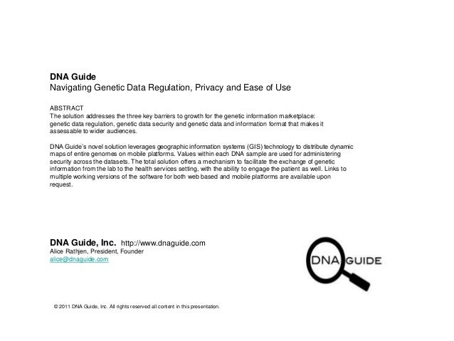 DNA Guide, Inc. - Tech Summary