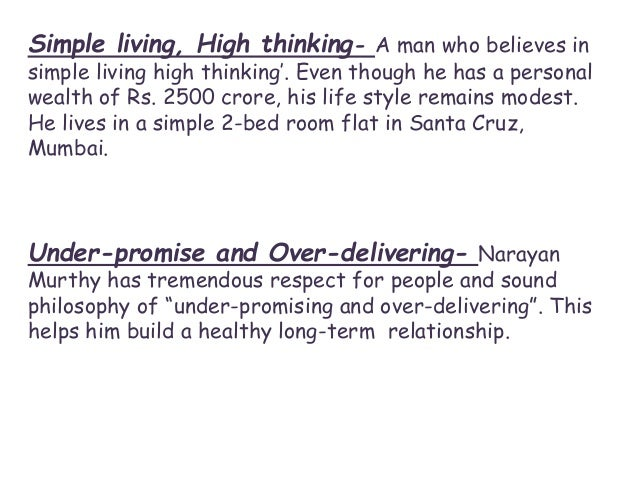 Simple Living High Thinking Essay