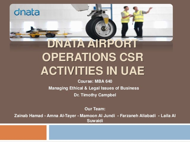Dnata airport operation csr activities in uae mba