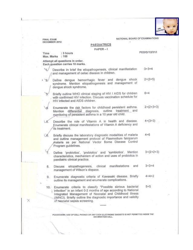 DNB Pediatrics Theory December 2012
