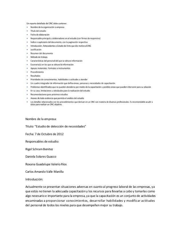 """Nombre de la empresa:Titulo: """"Estudio de detección de necesidades""""Fecha: 7 de Octubre de 2012Responsables de estudio:Rigel..."""