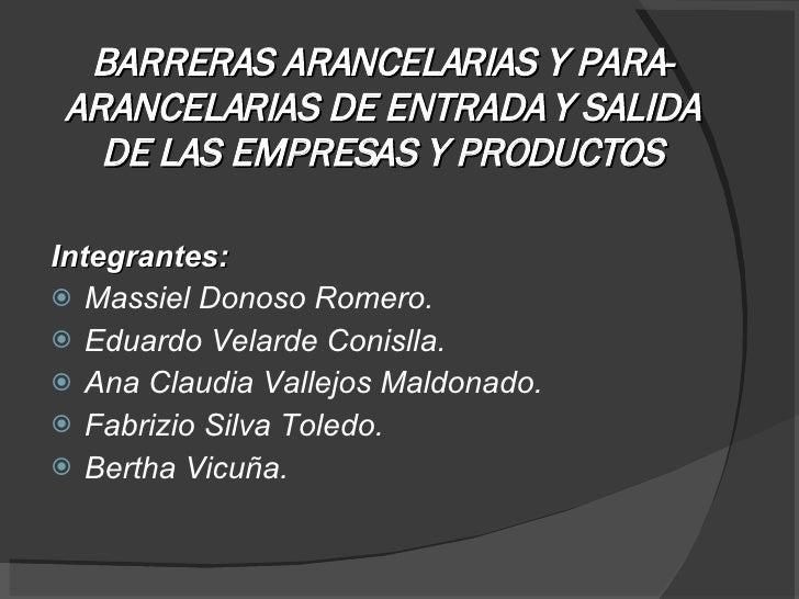 Dni   Barreras Arancelarias