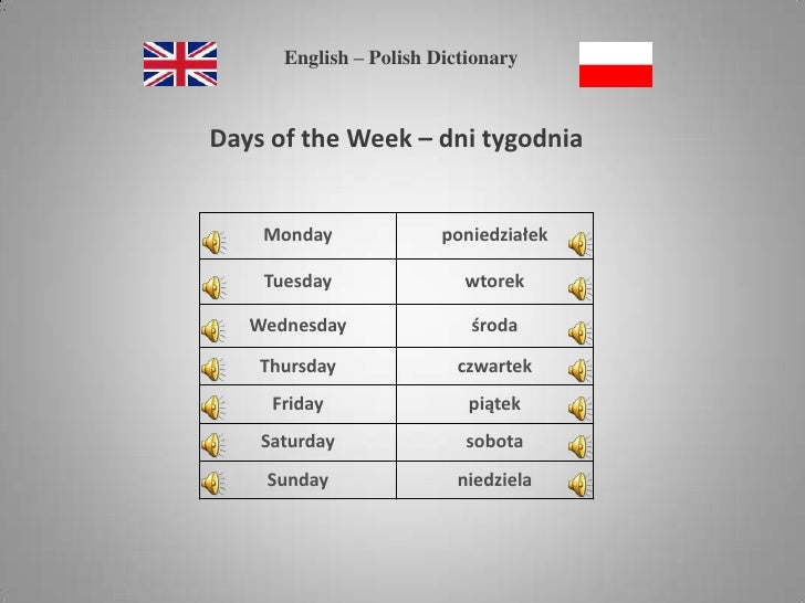 English – Polish Dictionary<br />Days of the Week – dni tygodnia <br />