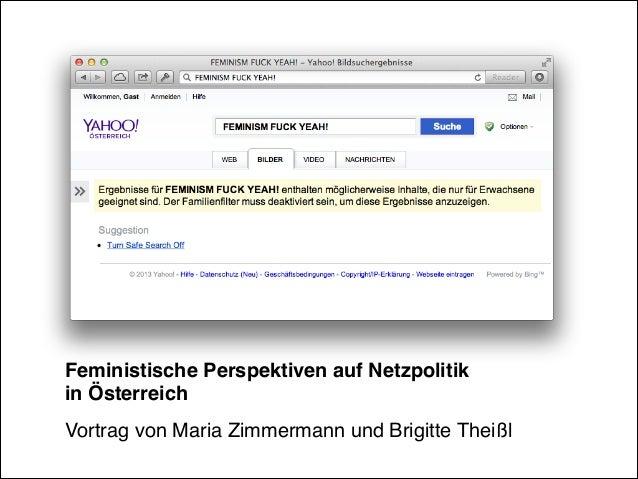 Feministische Perspektiven auf Netzpolitik in Österreich! Vortrag von Maria Zimmermann und Brigitte Theißl!