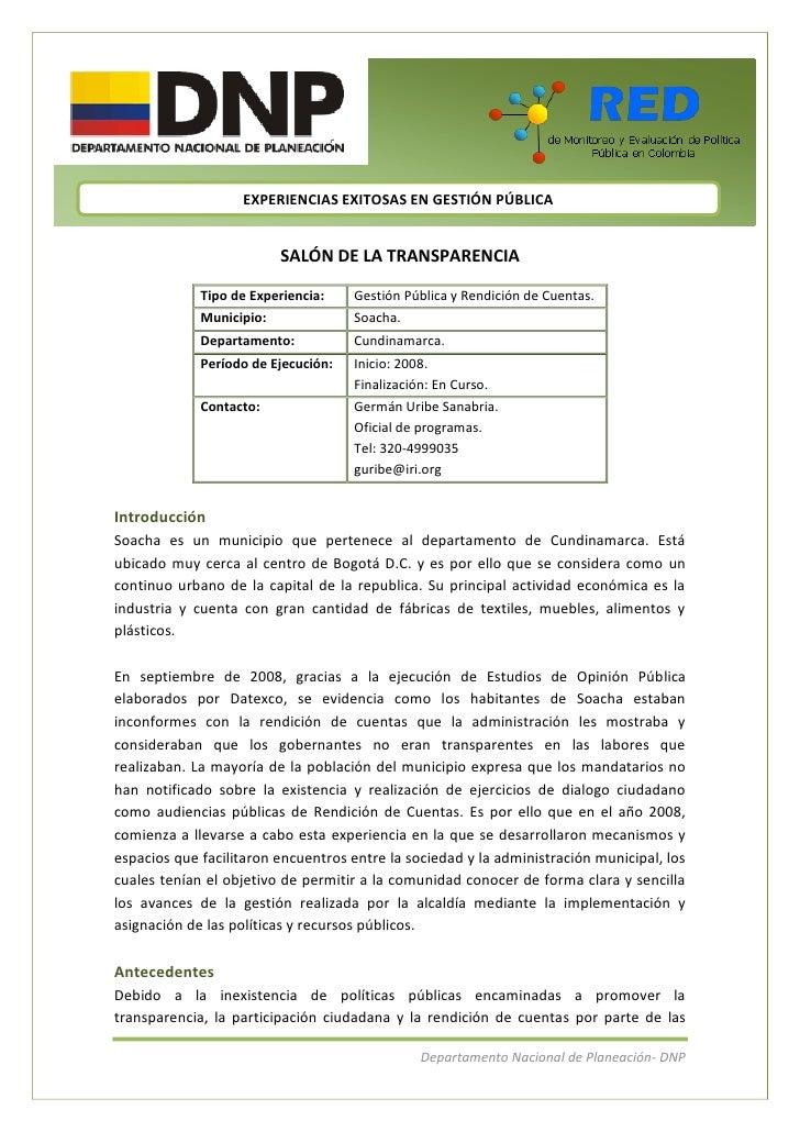 EXPERIENCIAS EXITOSAS EN GESTIÓN PÚBLICA                          SALÓN DE LA TRANSPARENCIA             Tipo de Experienci...