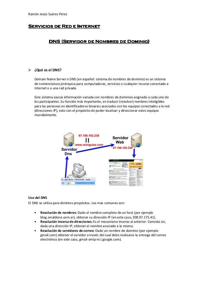 Ramón Jesús Suárez PérezServicios de Red e Internet                                         Dominio)             DNS (Serv...