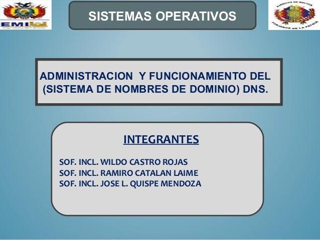 ADMINISTRACION Y FUNCIONAMIENTO DEL(SISTEMA DE NOMBRES DE DOMINIO) DNS.SISTEMAS OPERATIVOSINTEGRANTESSOF. INCL. WILDO CAST...