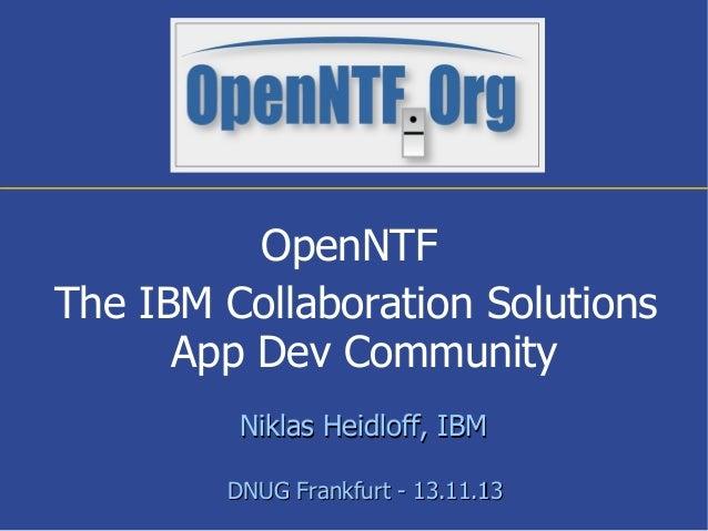 OpenNTF - DNUG November 2013