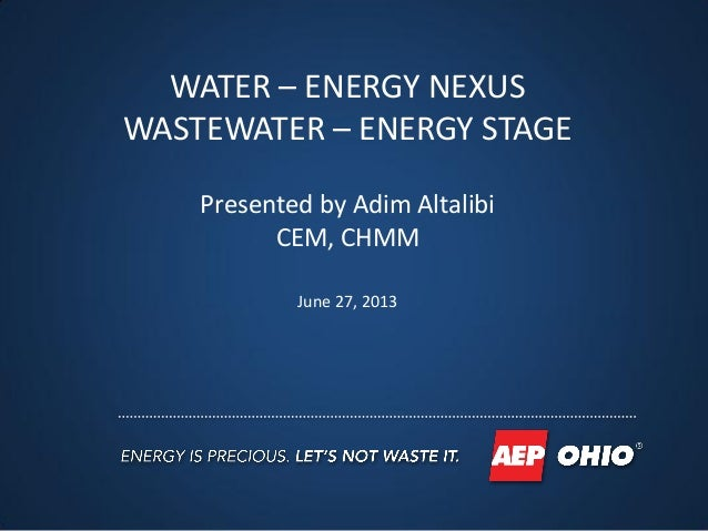 Overview of Water cycles, wastewater treatment processes, wastewater plant energy use and energy efficiency opportunities.