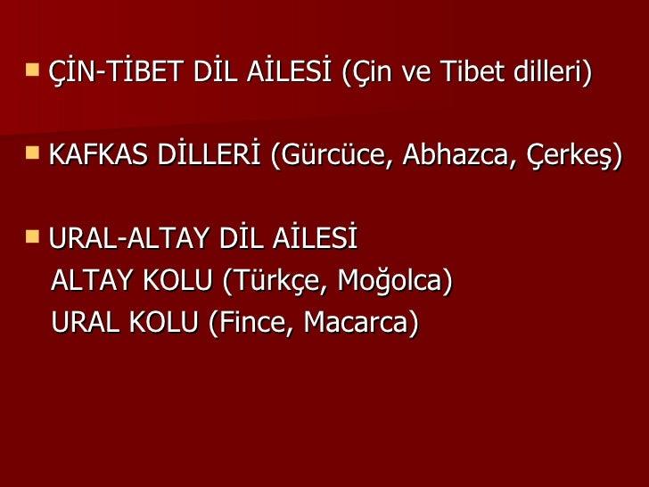 <ul><li>ÇİN-TİBET DİL AİLESİ (Çin ve Tibet dilleri) </li></ul><ul><li>KAFKAS DİLLERİ (Gürcüce, Abhazca, Çerkeş) </li></ul>...