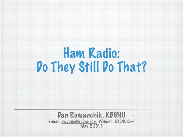 Ham Radio:Do They Still Do That?Dan Romanchik, KB6NUE-mail: cwgeek@kb6nu.com, Website: KB6NU.ComMay 5, 2013