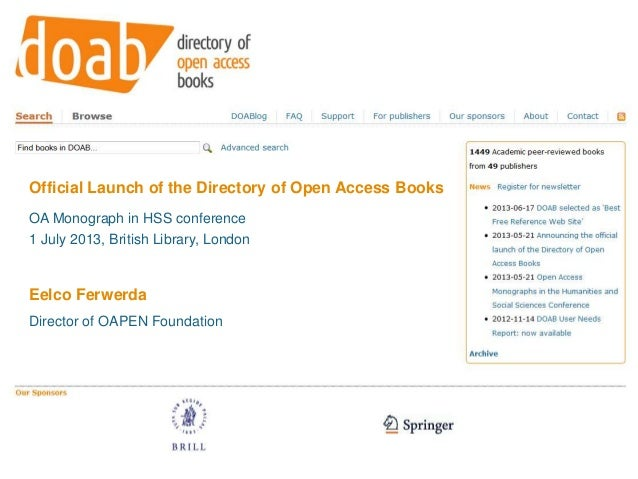 Launch of Directory of Open Access Books by Eelco Ferwerda