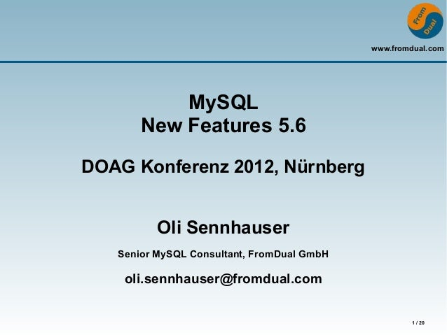 MySQL - New Features 5.6