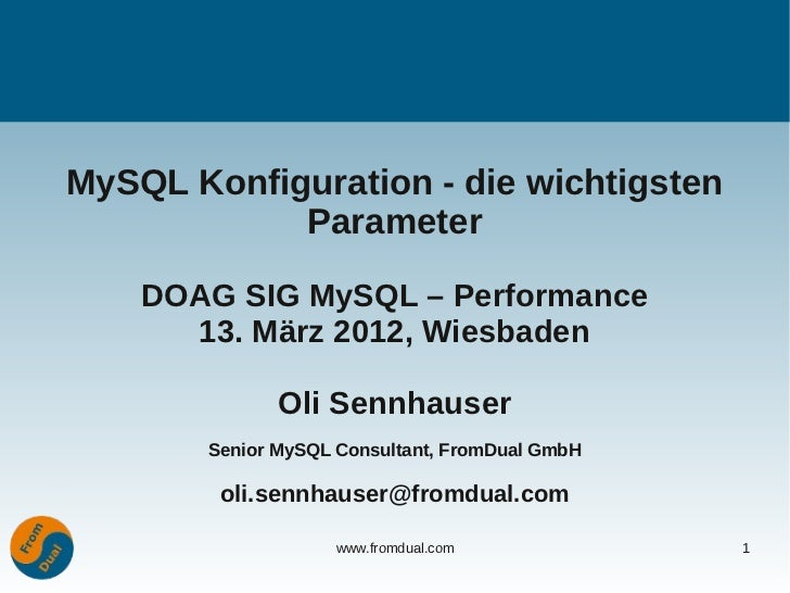 MySQL configuration - The most important Variables