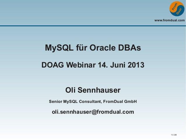 MySQL for Oracle DBAs