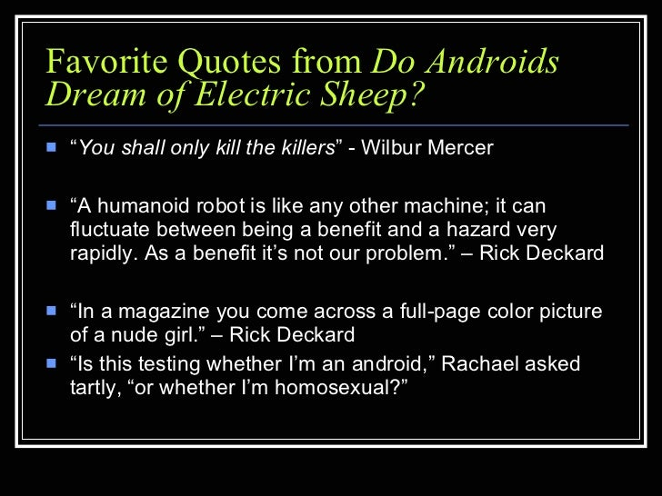 essays on do androids dream of electric sheep