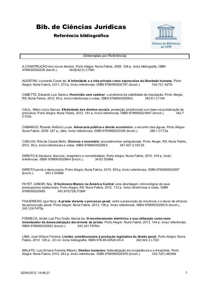 Bib. de Ciências Jurídicas                      Referência bibliográfica                                           (Ordena...