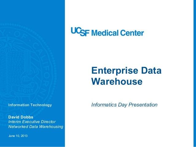 Enterprise Data Warehouse Informatics Day Presentation David Dobbs Interim Executive Director Networked Data Warehousing J...