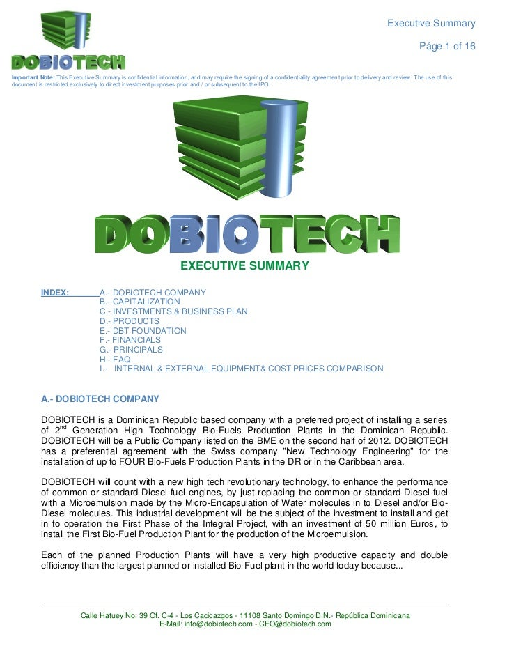 Dobiotech executive summary bio-fuels ENGLISH