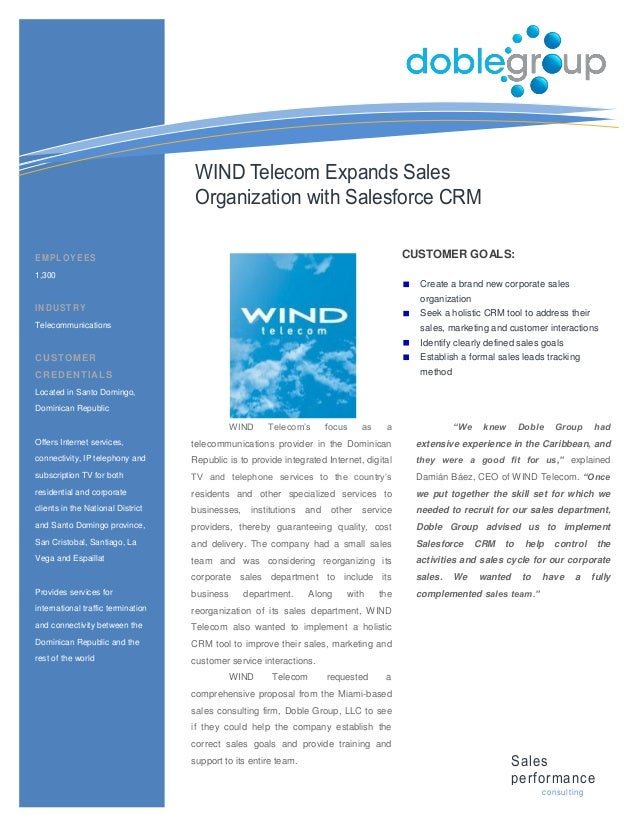WIND Telecom Expands Sales                                    Organization with Salesforce CRMEMPLOYEES                   ...