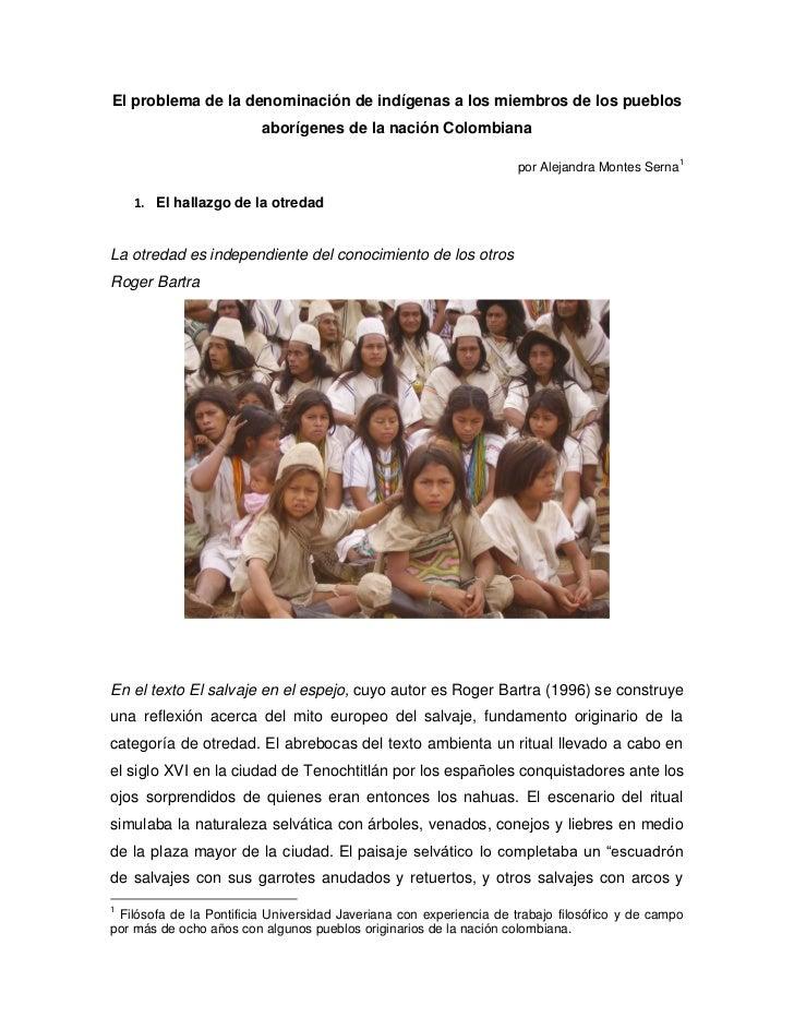 El problema de la denominación de indígenas a los miembros de los pueblos                         aborígenes de la nación ...