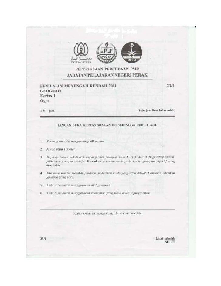Soalan Geografi Percubaan PMR 2011 - Perak
