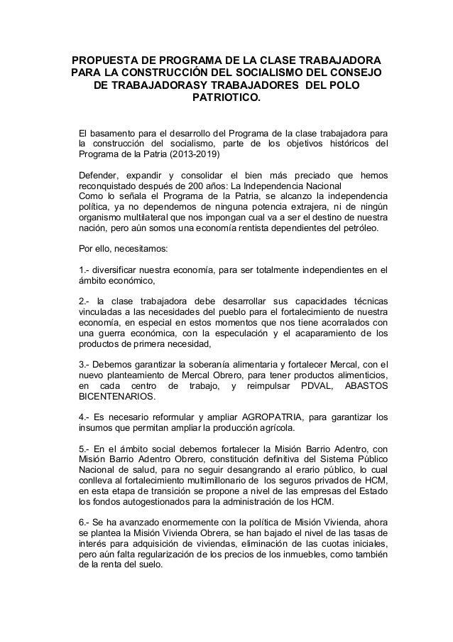 Documento de la clase Trabajadora del GPPSB