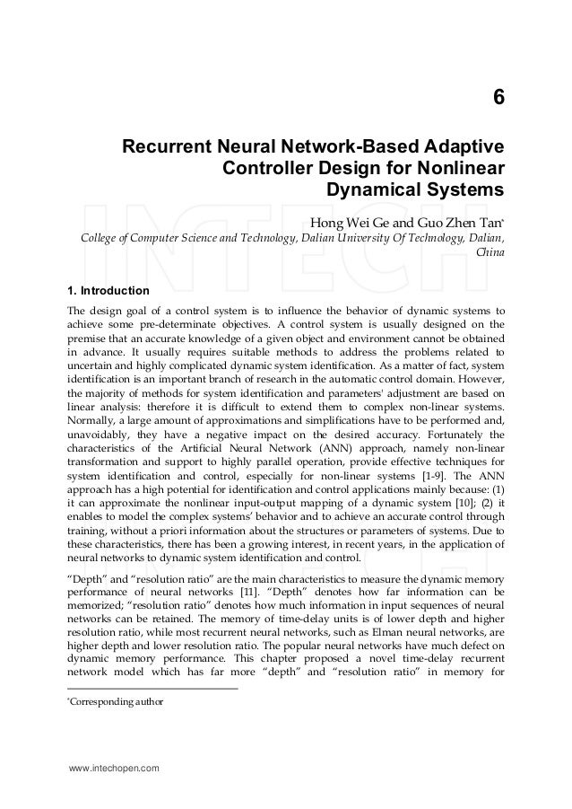 6 Recurrent Neural Network-Based Adaptive Controller Design for Nonlinear Dynamical Systems Hong Wei Ge and Guo Zhen Tan* ...