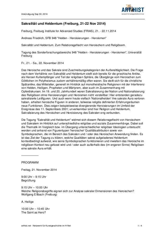 Ankündigung Sep 30, 2014  Sakralität und Heldentum (Freiburg, 21-22 Nov 2014)  Freiburg, Freiburg Institute for Advanced S...