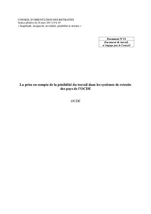 CONSEIL D'ORIENTATION DES RETRAITES  Séance plénière du 16 mars 2011 à 9 h 30  « Inaptitude, incapacité, invalidité, pénib...