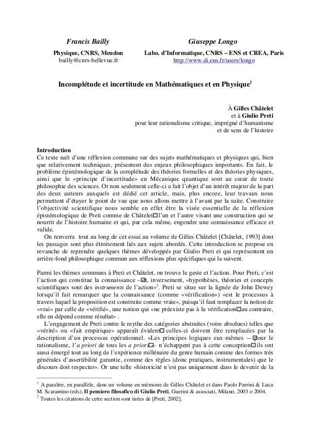 Francis Bailly  Giuseppe Longo  Physique, CNRS, Meudon bailly@cnrs-bellevue.fr  Labo. d'Informatique, CNRS – ENS et CREA, ...
