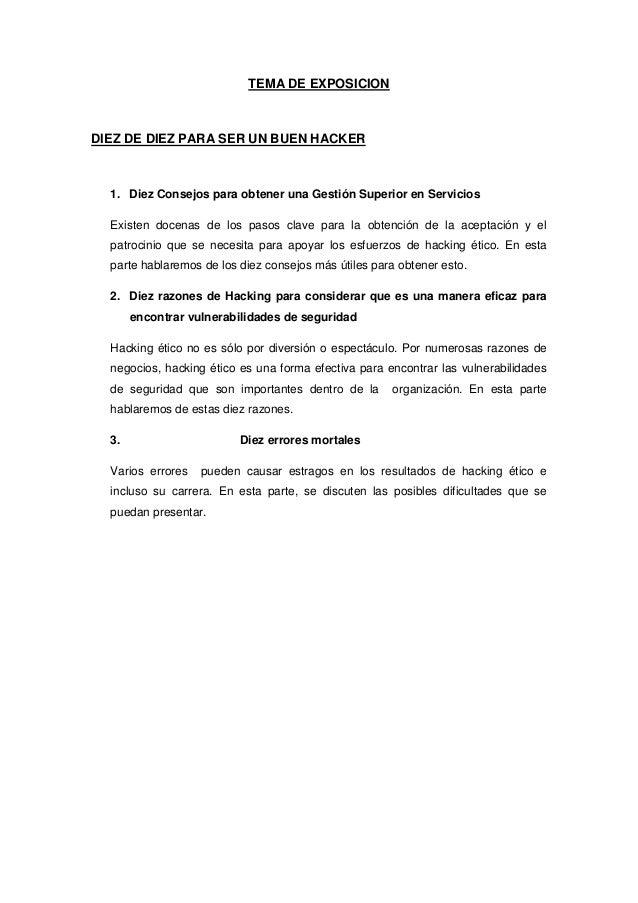 TEMA DE EXPOSICION DIEZ DE DIEZ PARA SER UN BUEN HACKER 1. Diez Consejos para obtener una Gestión Superior en Servicios Ex...
