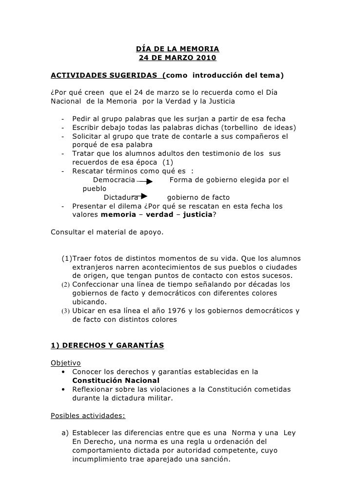 DÍA DE LA MEMORIA                         24 DE MARZO 2010  ACTIVIDADES SUGERIDAS (como introducción del tema)  ¿Por qué c...
