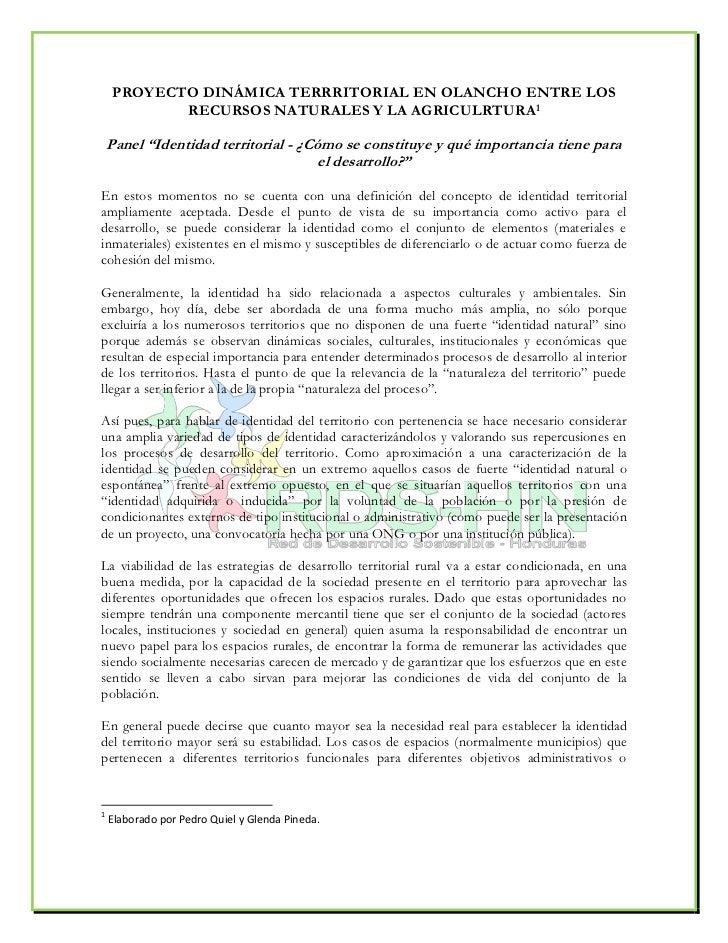 """PROYECTO DINÁMICA TERRRITORIAL EN OLANCHO ENTRE LOS            RECURSOS NATURALES Y LA AGRICULRTURA1      Panel """"Identidad..."""
