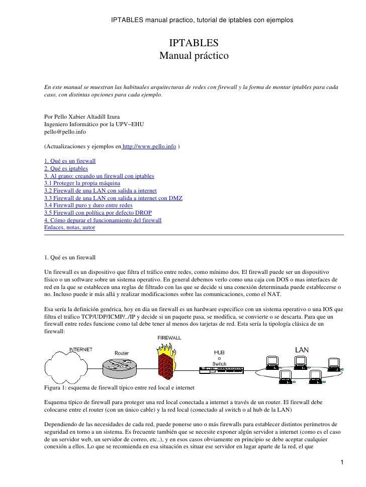 IPTABLES manual practico, tutorial de iptables con ejemplos                                                    IPTABLES   ...