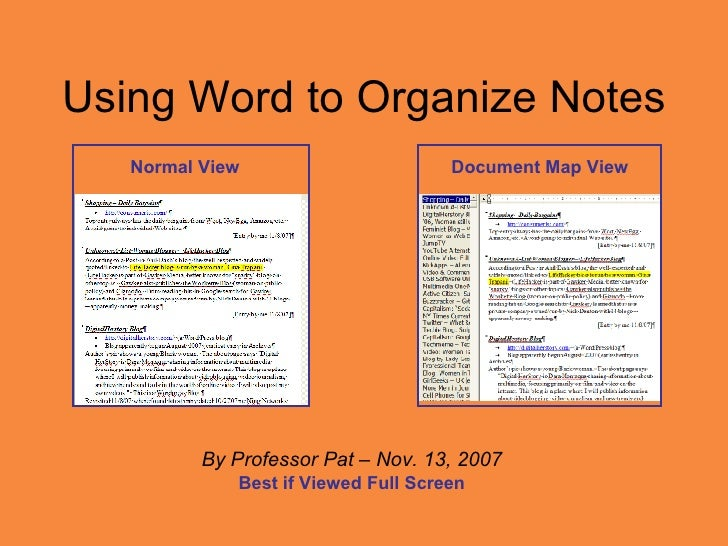 Using Word to Organize Notes By Professor Pat – Nov. 13, 2007 Best if Viewed Full Screen Normal View Document Map View