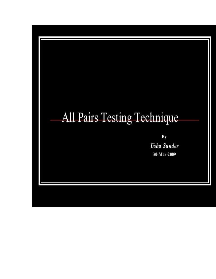 All Pairs Testing Technique