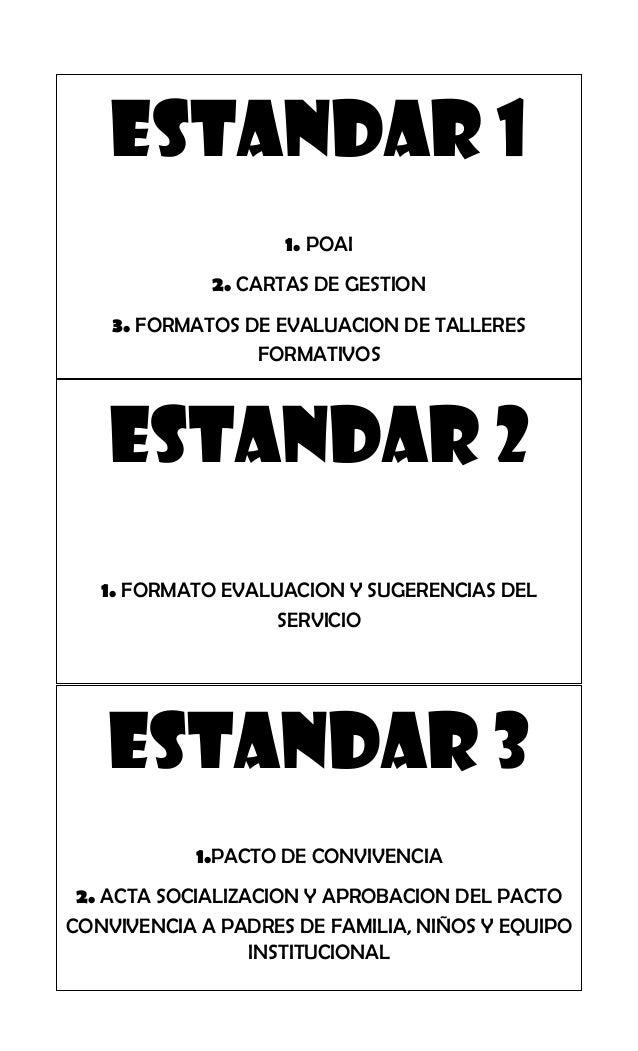 ESTANDAR 1                    1. POAI             2. CARTAS DE GESTION    3. FORMATOS DE EVALUACION DE TALLERES           ...