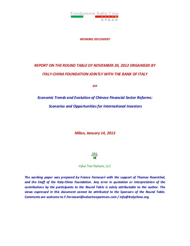 WORKING DOCUMENT      REPORT ON THE ROUND TABLE OF NOVEMBER 20, 2012 ORGANISED BY           ITALY-CHINA FOUNDATION JOINTLY...