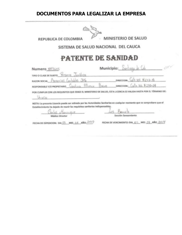 DOCUMENTOS PARA LEGALIZAR LA EMPRESA