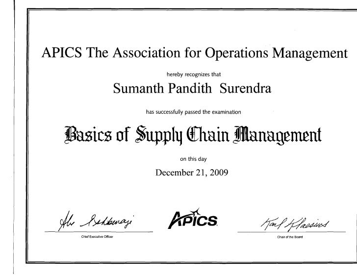 APICS The Association for Operations Management                                               hereby recognizes that      ...