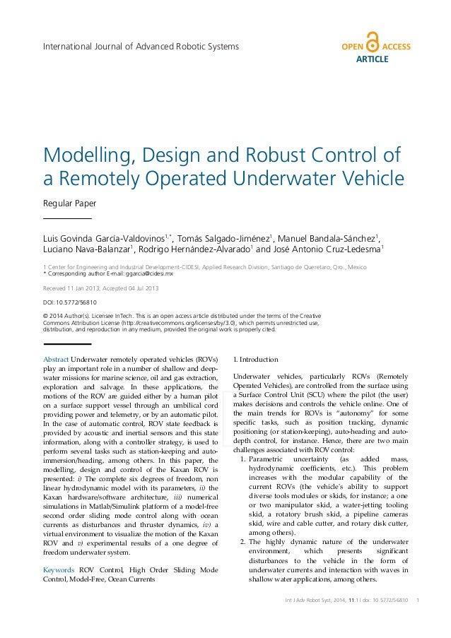International Journal of Advanced Robotic Systems  ARTICLE  Modelling, Design and Robust Control of a Remotely Operated Un...