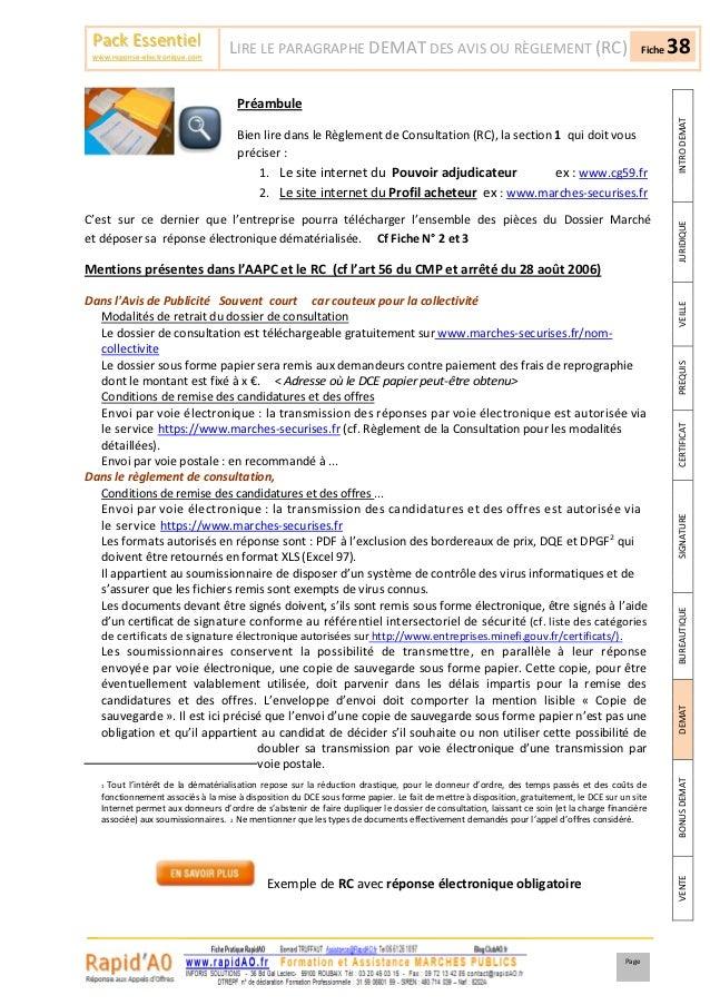 Pack Essentiel                    LIRE LE PARAGRAPHE DEMAT DES AVIS OU RÈGLEMENT (RC)                                     ...