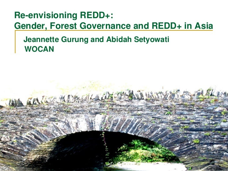 Re-envisioning REDD+:Gender, Forest Governance and REDD+ in Asia  Jeannette Gurung and Abidah Setyowati  WOCAN