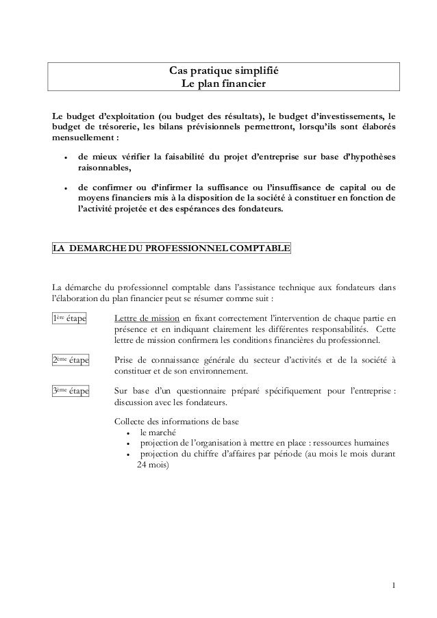 1 Cas pratique simplifié Le plan financier Le budget d'exploitation (ou budget des résultats), le budget d'investissements...