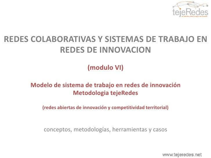 REDES COLABORATIVAS Y SISTEMAS DE TRABAJO EN REDES DE INNOVACION<br />(módulo VI)<br />Modelo de sistema de trabajo en red...