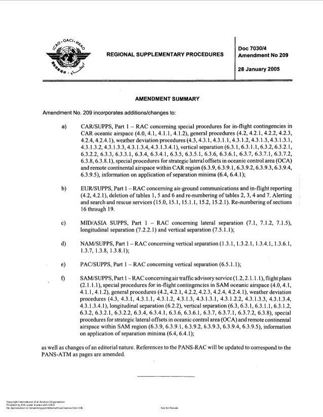 REGIONAL SUPPLEMENTARY PROCEDURES  Doc 703014 Amendment No 209 28 January 2005  AMENDMENT SUMMARY Amendment.No. 209 incorp...